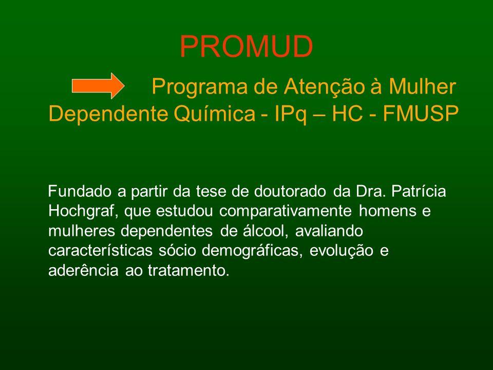 PROMUD Programa de Atenção à Mulher Dependente Química - IPq – HC - FMUSP Fundado a partir da tese de doutorado da Dra. Patrícia Hochgraf, que estudou