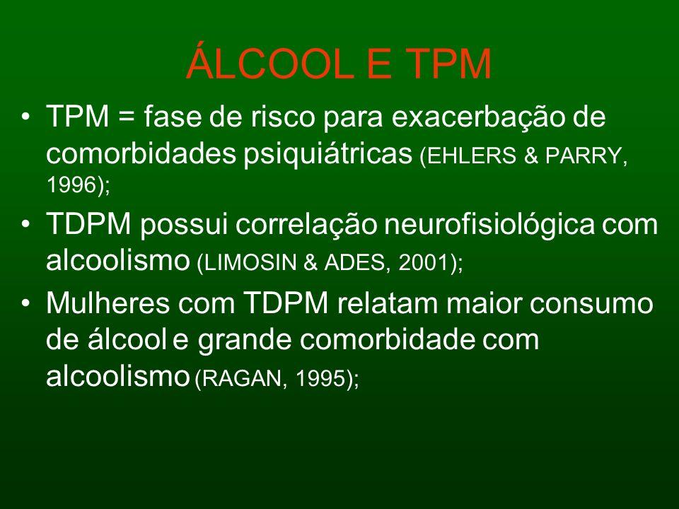 ÁLCOOL E TPM TPM = fase de risco para exacerbação de comorbidades psiquiátricas (EHLERS & PARRY, 1996); TDPM possui correlação neurofisiológica com al