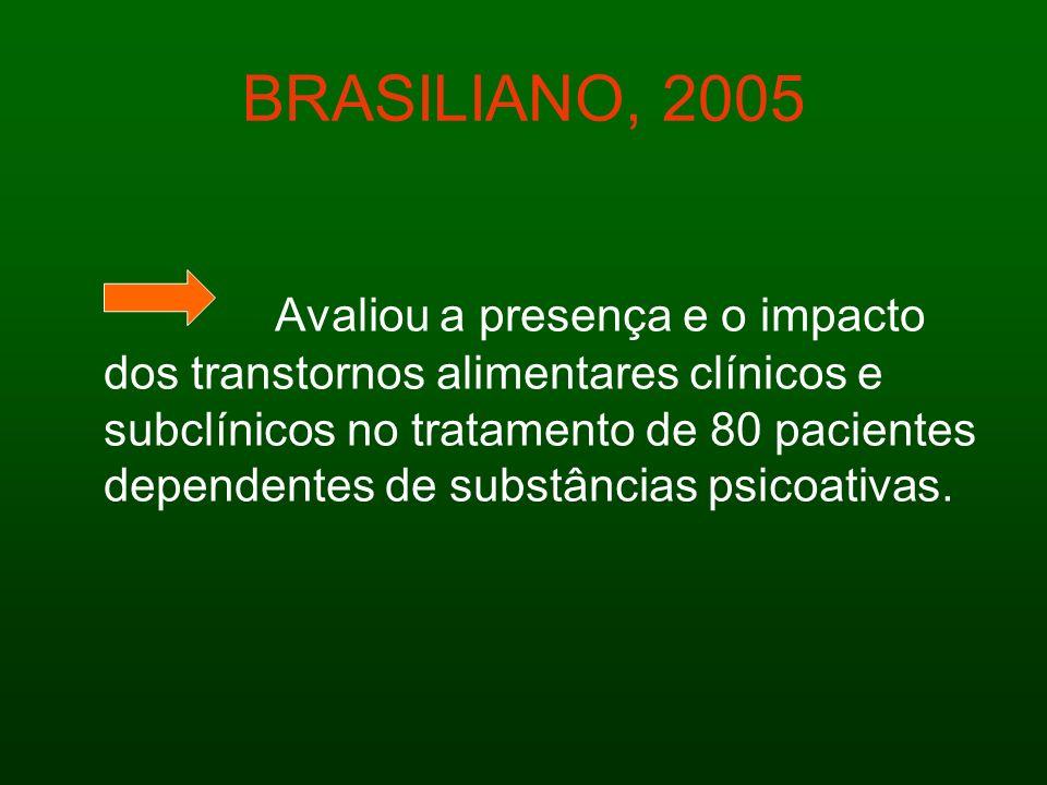 BRASILIANO, 2005 Avaliou a presença e o impacto dos transtornos alimentares clínicos e subclínicos no tratamento de 80 pacientes dependentes de substâ