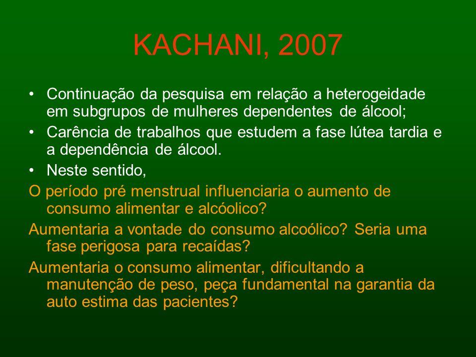 KACHANI, 2007 Continuação da pesquisa em relação a heterogeidade em subgrupos de mulheres dependentes de álcool; Carência de trabalhos que estudem a f