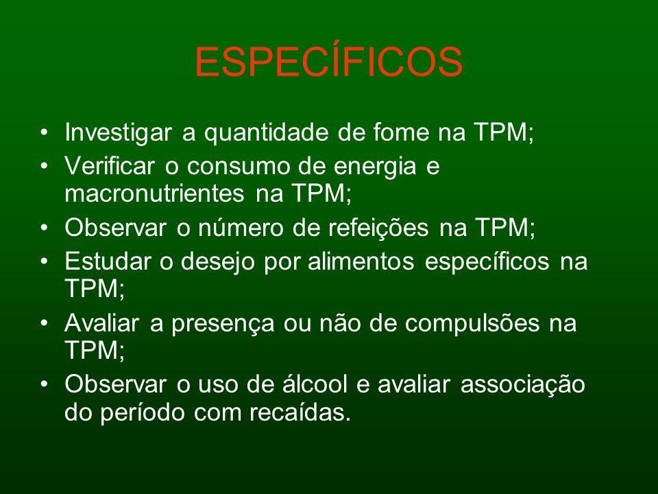 ESPECÍFICOS Investigar a quantidade de fome na TPM; Verificar o consumo de energia e macronutrientes na TPM; Observar o número de refeições na TPM; Es