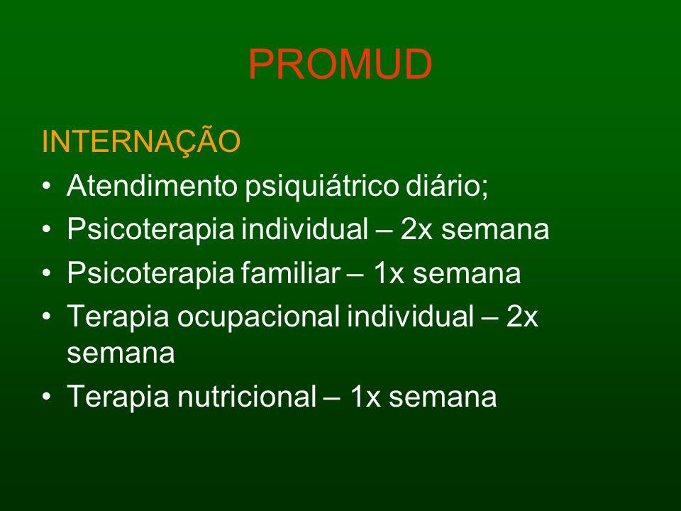 PROMUD INTERNAÇÃO Atendimento psiquiátrico diário; Psicoterapia individual – 2x semana Psicoterapia familiar – 1x semana Terapia ocupacional individua
