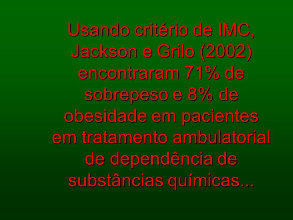 Usando critério de IMC, Jackson e Grilo (2002) encontraram 71% de sobrepeso e 8% de obesidade em pacientes em tratamento ambulatorial de dependência d