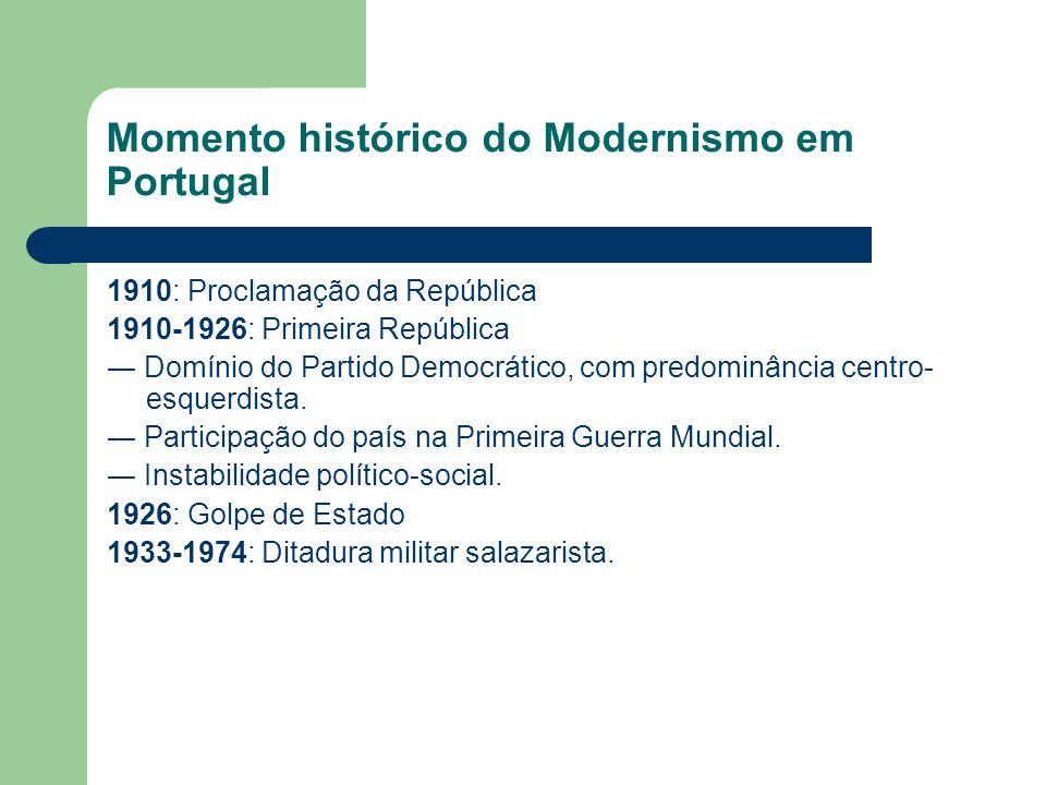 Momento histórico do Modernismo em Portugal 1910: Proclamação da República 1910-1926: Primeira República Domínio do Partido Democrático, com predominâ