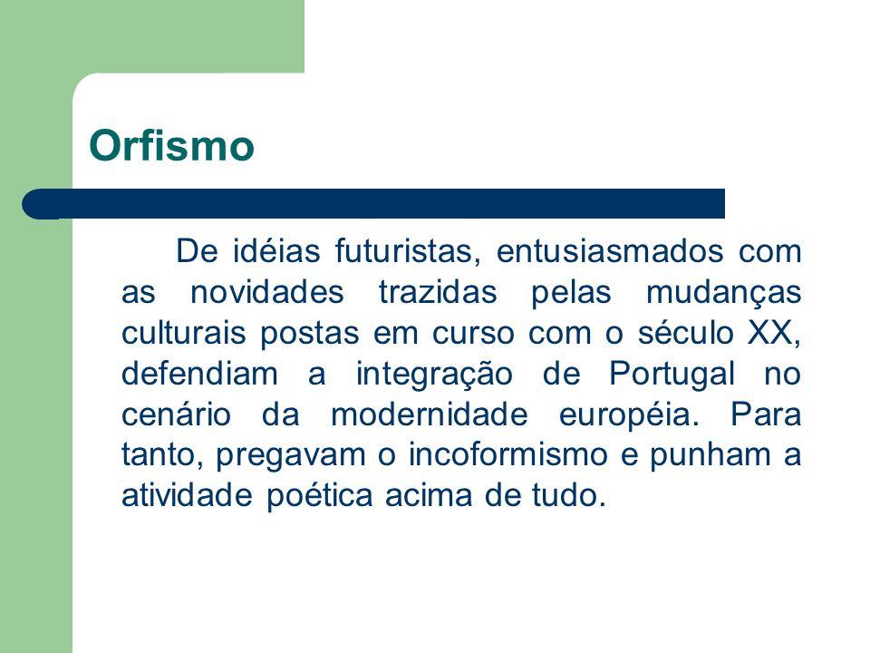 Orfismo De idéias futuristas, entusiasmados com as novidades trazidas pelas mudanças culturais postas em curso com o século XX, defendiam a integração