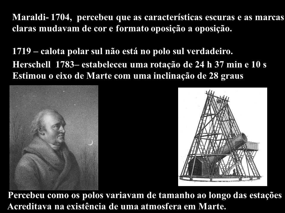 Maraldi- 1704, percebeu que as características escuras e as marcas claras mudavam de cor e formato oposição a oposição. 1719 – calota polar sul não es