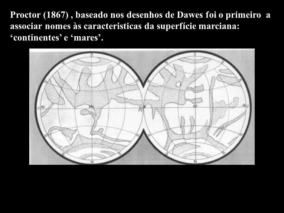 Proctor (1867), baseado nos desenhos de Dawes foi o primeiro a associar nomes às caracteristicas da superfície marciana: continentes e mares.