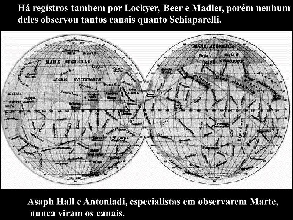 Há registros tambem por Lockyer, Beer e Madler, porém nenhum deles observou tantos canais quanto Schiaparelli. Asaph Hall e Antoniadi, especialistas e