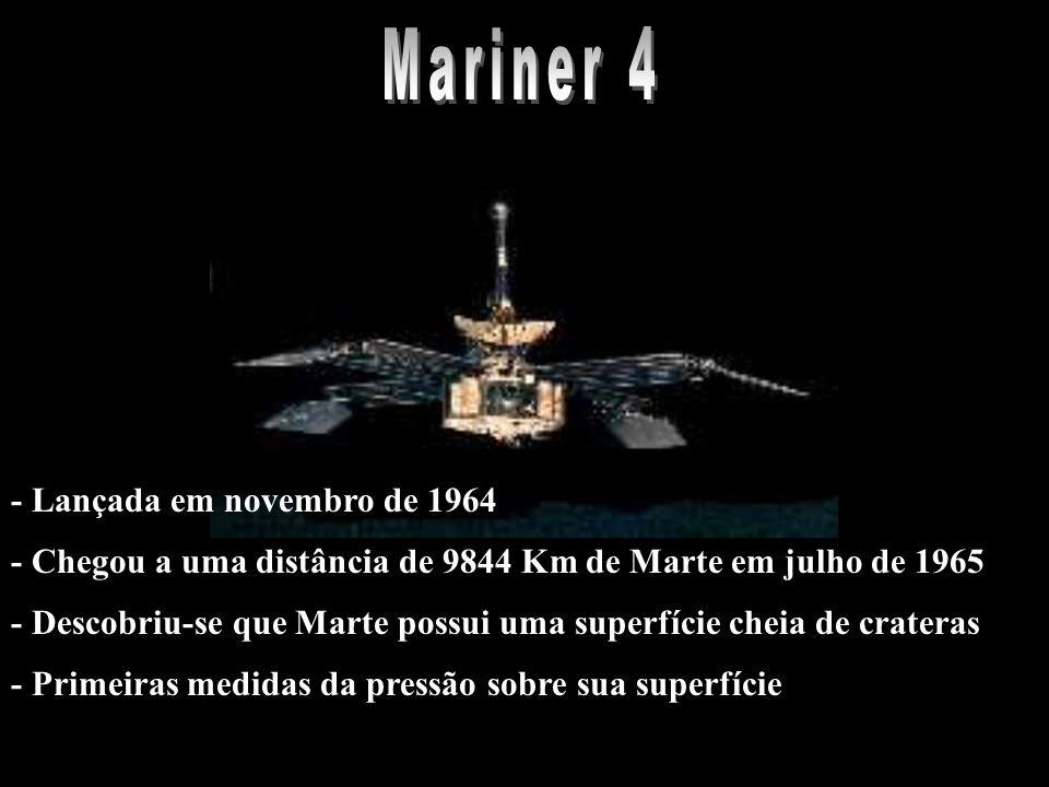 - Chegou a uma distância de 9844 Km de Marte em julho de 1965 - Descobriu-se que Marte possui uma superfície cheia de crateras - Primeiras medidas da