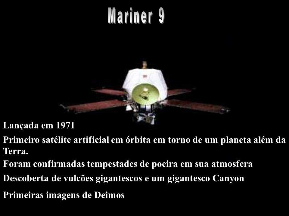 Primeiro satélite artificial em órbita em torno de um planeta além da Terra. Primeiras imagens de Deimos Foram confirmadas tempestades de poeira em su