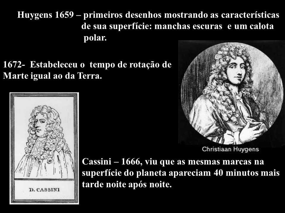 Huygens 1659 – primeiros desenhos mostrando as características de sua superfície: manchas escuras e um calota polar. 1672- Estabeleceu o tempo de rota