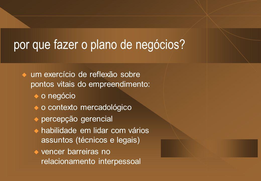 por que fazer o plano de negócios? um exercício de reflexão sobre pontos vitais do empreendimento: u o negócio u o contexto mercadológico u percepção
