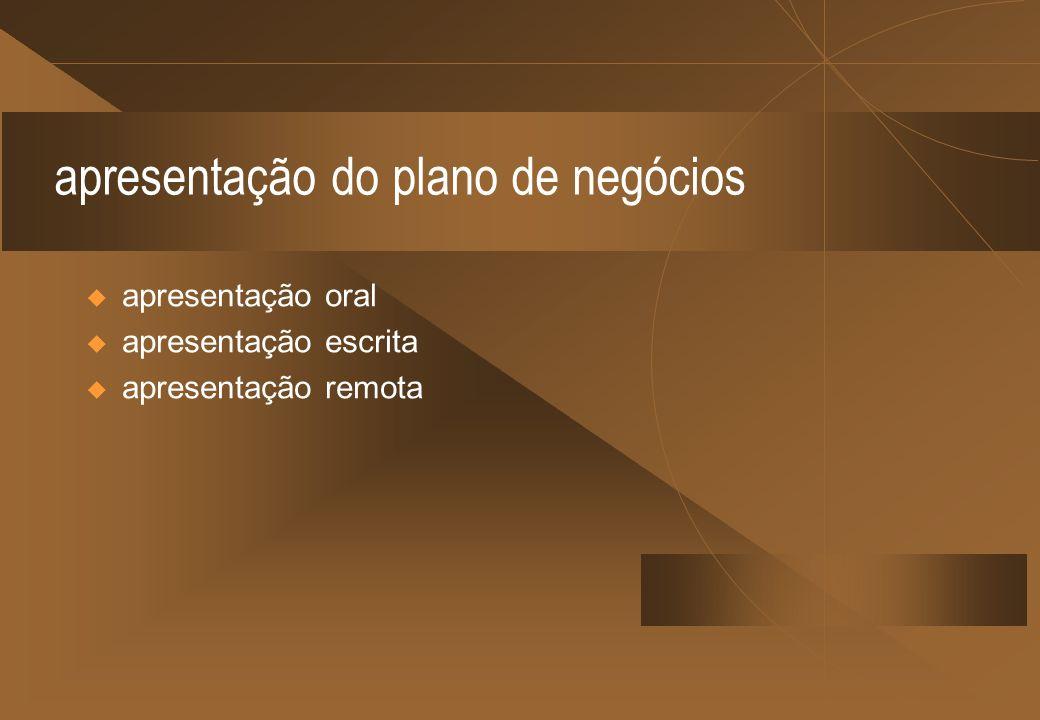 apresentação do plano de negócios apresentação oral apresentação escrita apresentação remota