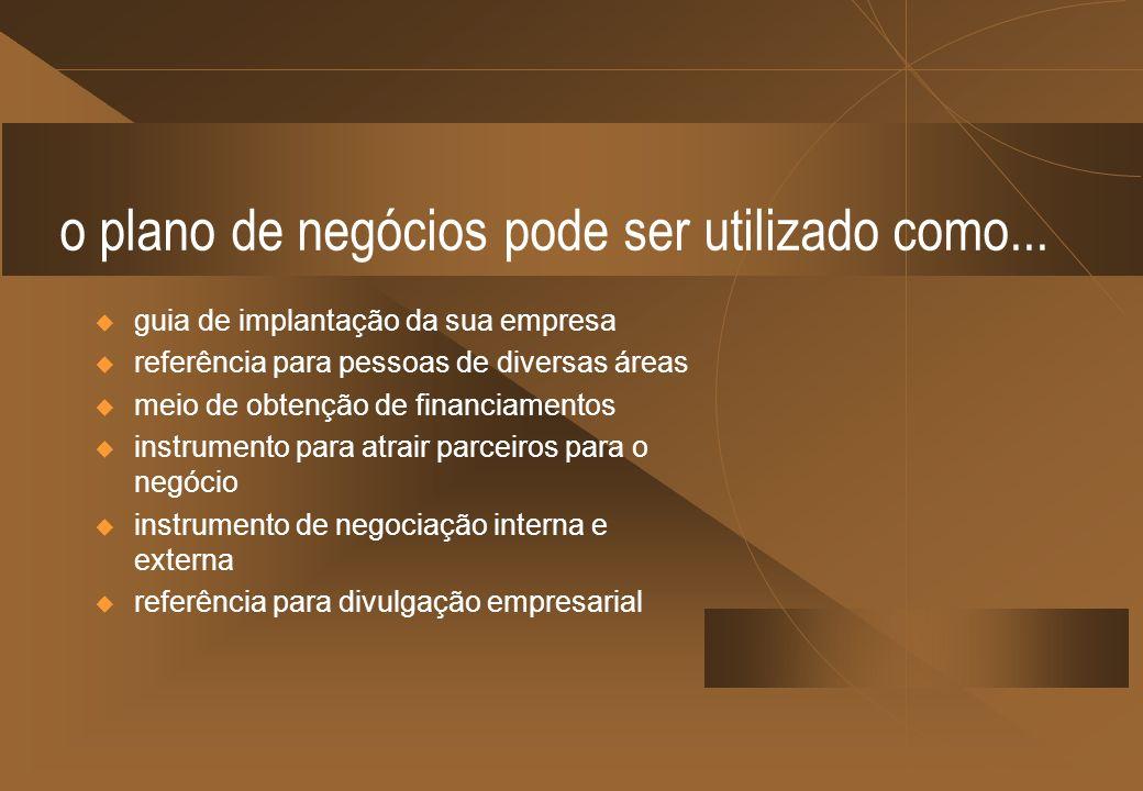 o plano de negócios pode ser utilizado como... guia de implantação da sua empresa referência para pessoas de diversas áreas meio de obtenção de financ