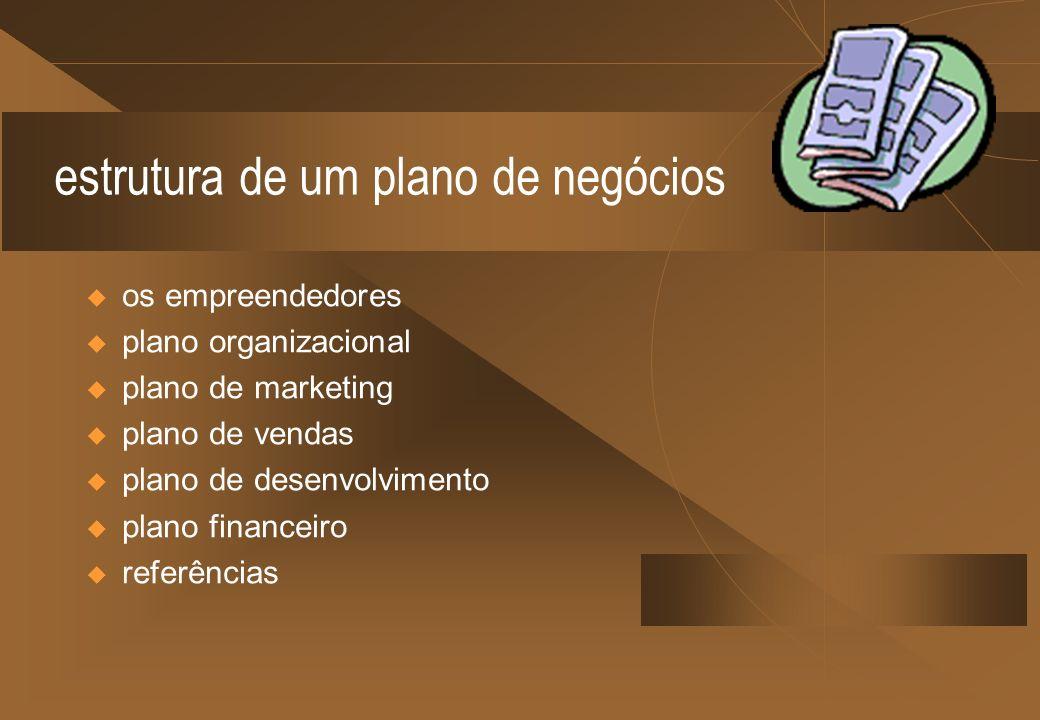 estrutura de um plano de negócios os empreendedores plano organizacional plano de marketing plano de vendas plano de desenvolvimento plano financeiro