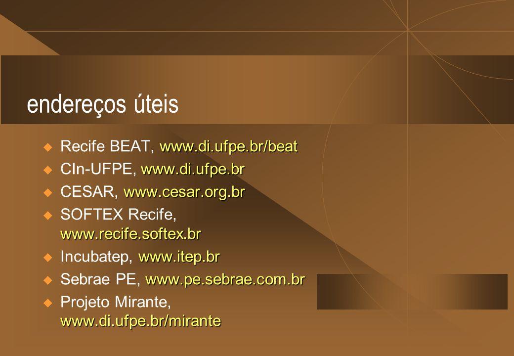 endereços úteis www.di.ufpe.br/beat Recife BEAT, www.di.ufpe.br/beat www.di.ufpe.br CIn-UFPE, www.di.ufpe.br www.cesar.org.br CESAR, www.cesar.org.br