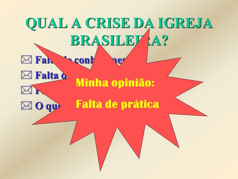 QUAL A CRISE DA IGREJA BRASILEIRA.* Falta de conhecimento.