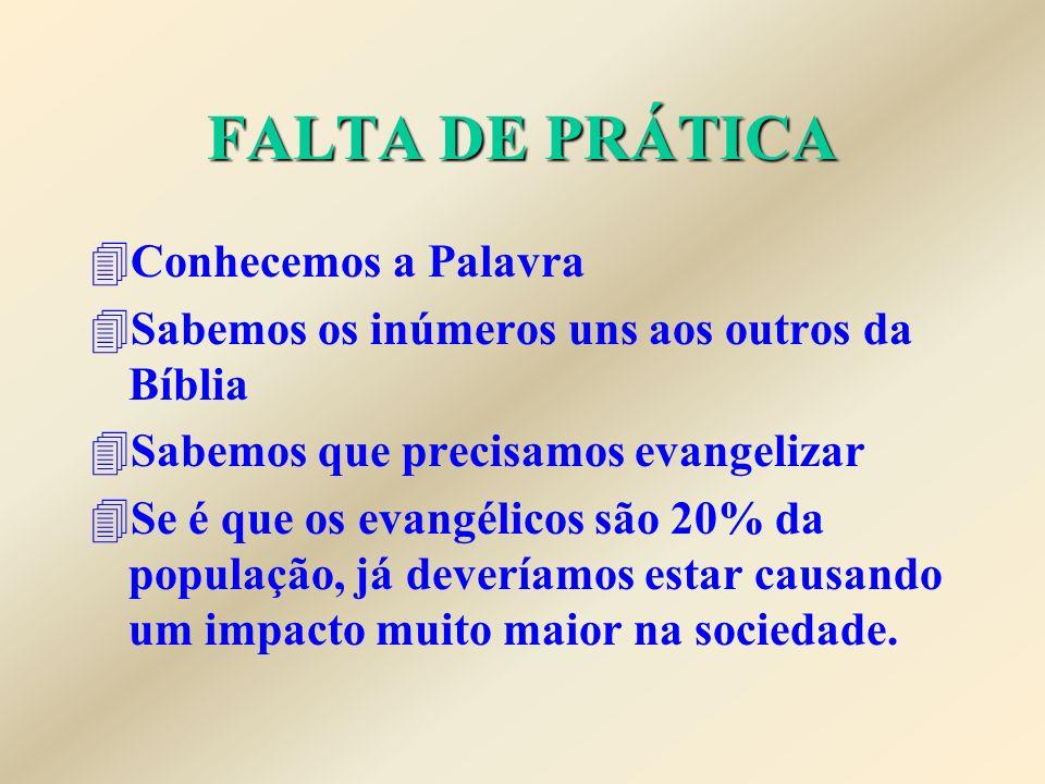 FALTA DE PRÁTICA 4Conhecemos a Palavra 4Sabemos os inúmeros uns aos outros da Bíblia 4Sabemos que precisamos evangelizar 4Se é que os evangélicos são 20% da população, já deveríamos estar causando um impacto muito maior na sociedade.
