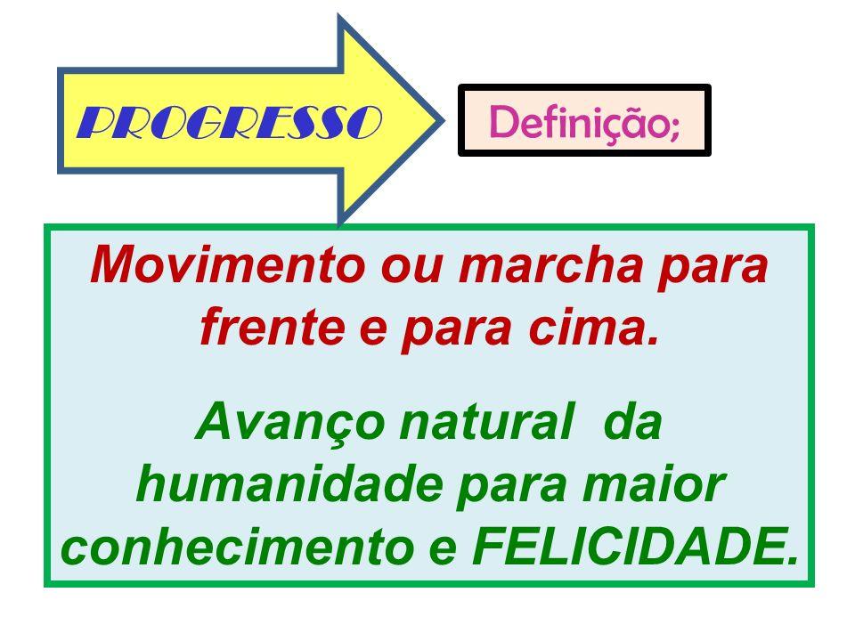 3 Movimento ou marcha para frente e para cima. Avanço natural da humanidade para maior conhecimento e FELICIDADE. Definição; PROGRESSO