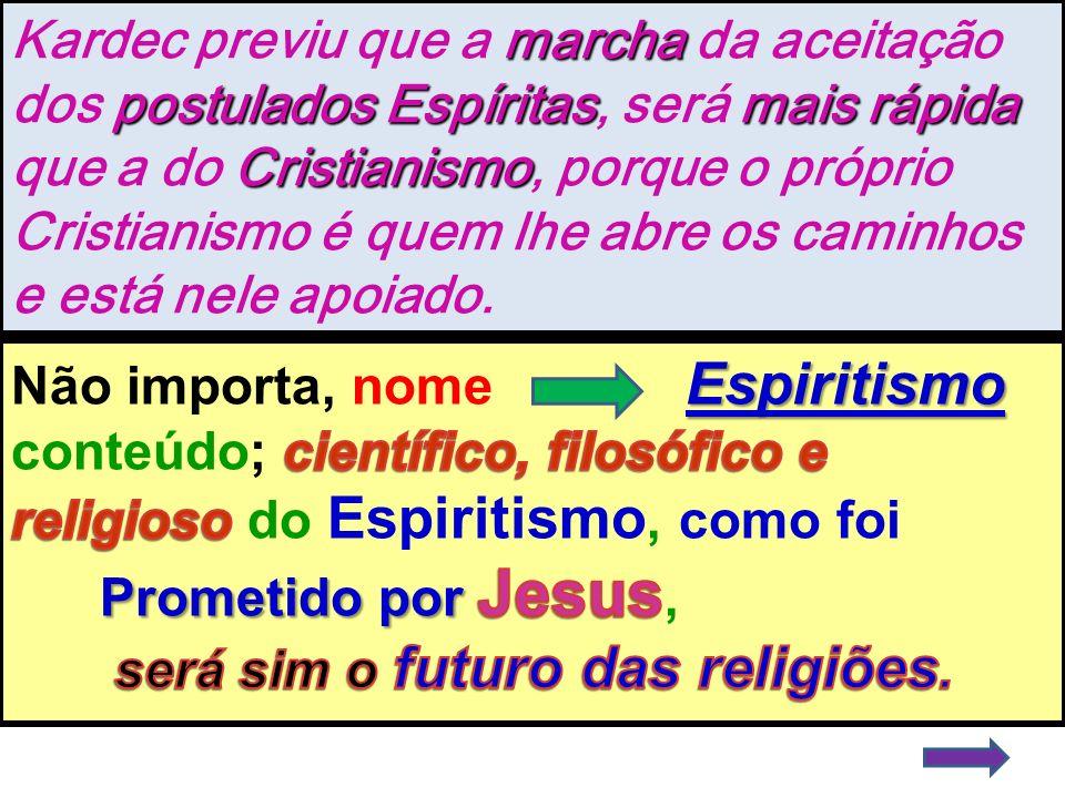 marcha postulados Espíritasmais rápida Cristianismo Kardec previu que a marcha da aceitação dos postulados Espíritas, será mais rápida que a do Cristi