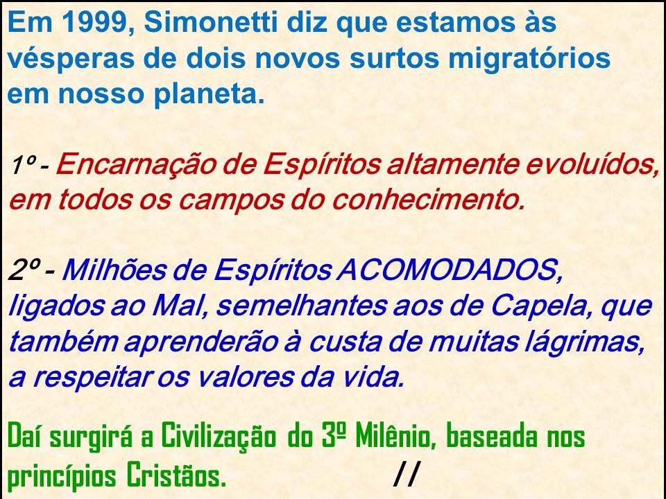 Em 1999, Simonetti diz que estamos às vésperas de dois novos surtos migratórios em nosso planeta. 1º - Encarnação de Espíritos altamente evoluídos, em