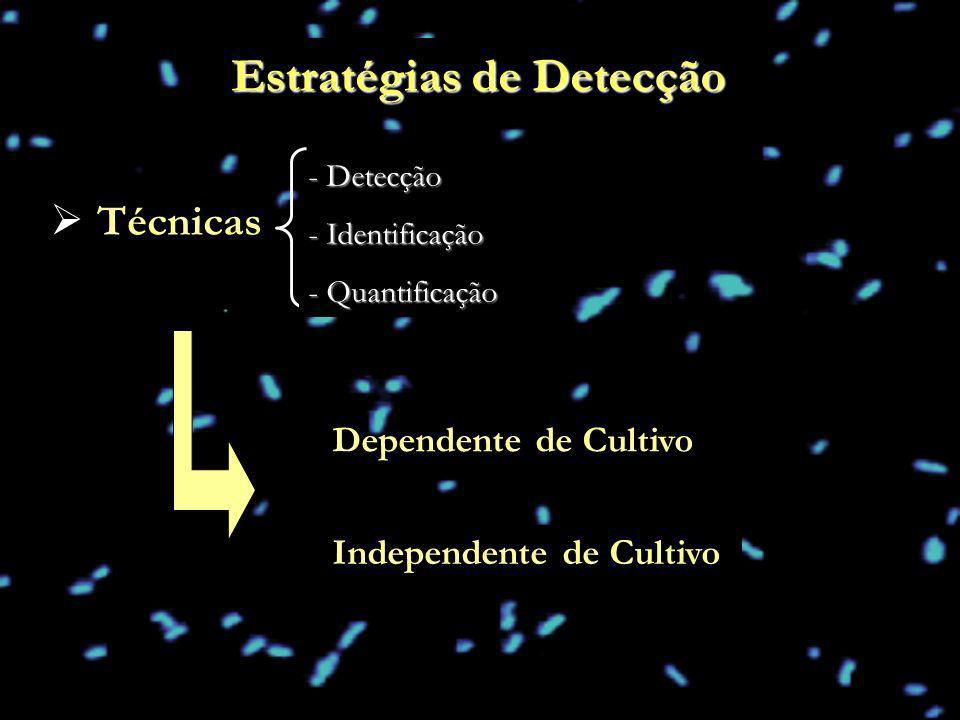 Estratégias de Detecção Técnicas - Detecção - Identificação - Quantificação Dependente de Cultivo Independente de Cultivo