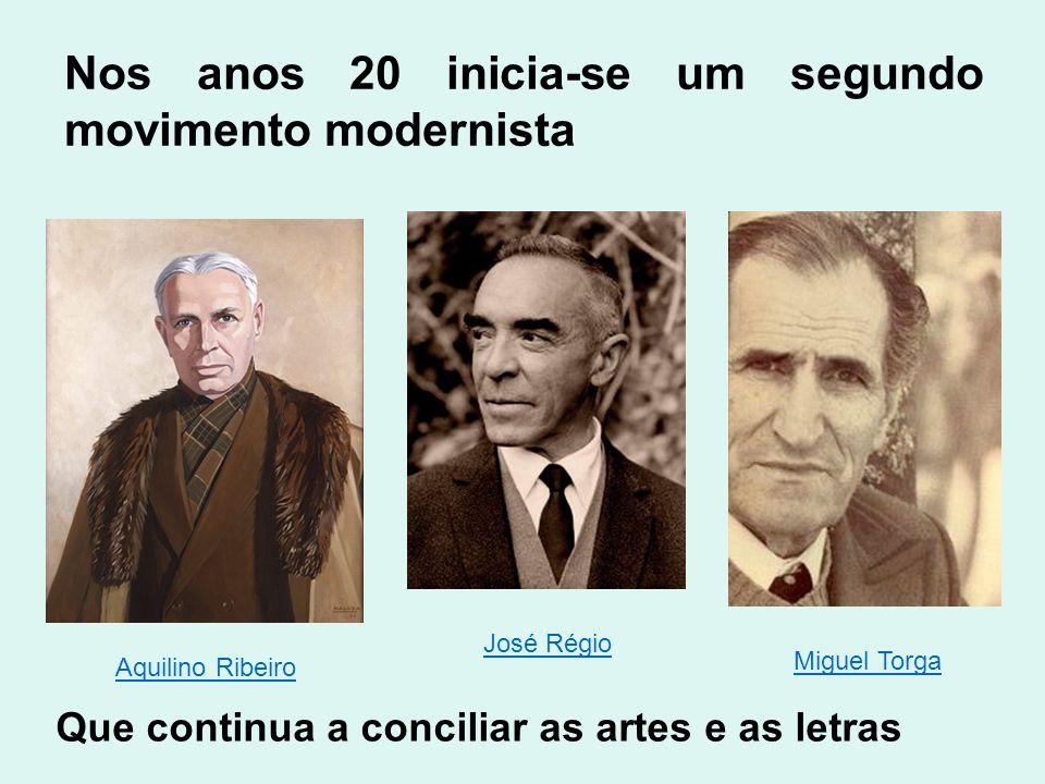 Nos anos 20 inicia-se um segundo movimento modernista Que continua a conciliar as artes e as letras Aquilino Ribeiro José Régio Miguel Torga