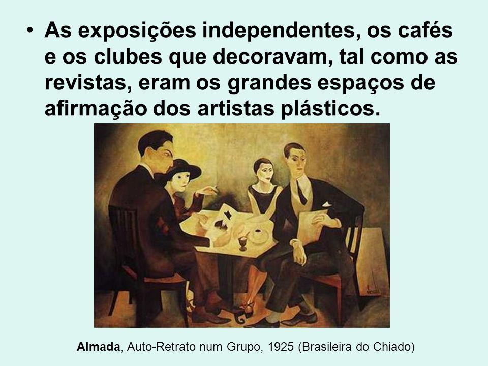 As exposições independentes, os cafés e os clubes que decoravam, tal como as revistas, eram os grandes espaços de afirmação dos artistas plásticos. Al