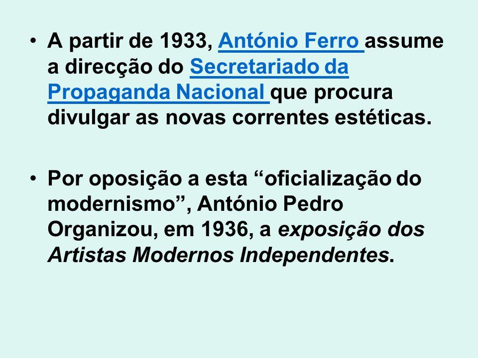 A partir de 1933, António Ferro assume a direcção do Secretariado da Propaganda Nacional que procura divulgar as novas correntes estéticas.António Fer