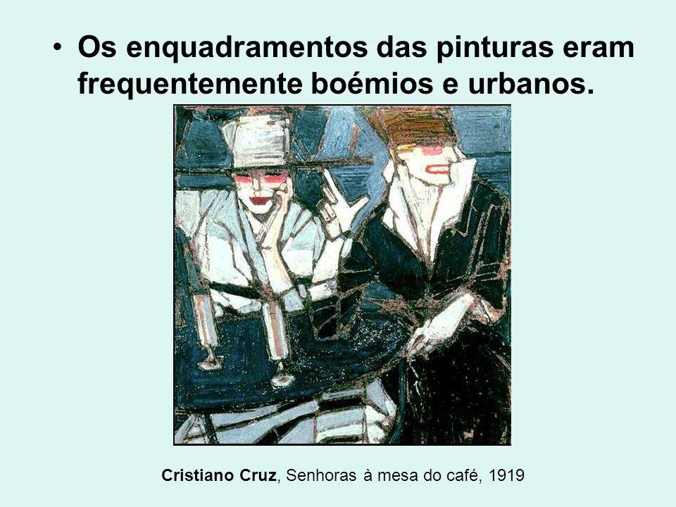 Os enquadramentos das pinturas eram frequentemente boémios e urbanos. Cristiano Cruz, Senhoras à mesa do café, 1919