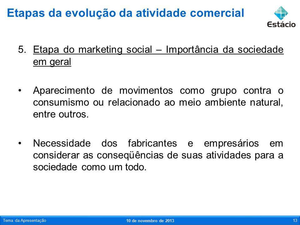 5.Etapa do marketing social – Importância da sociedade em geral Aparecimento de movimentos como grupo contra o consumismo ou relacionado ao meio ambie