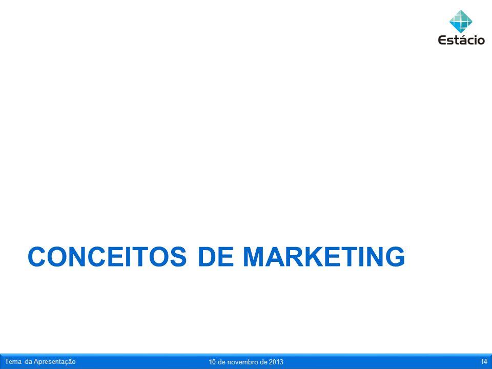 CONCEITOS DE MARKETING 10 de novembro de 2013 Tema da Apresentação14
