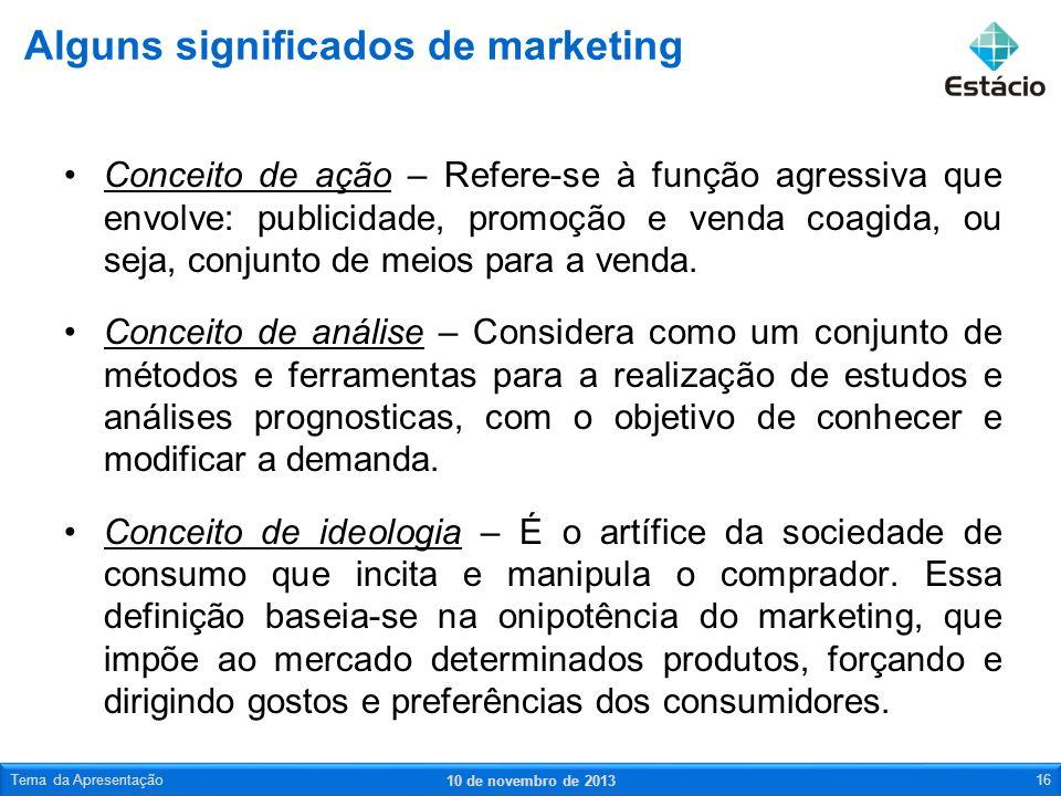 Conceito de ação – Refere-se à função agressiva que envolve: publicidade, promoção e venda coagida, ou seja, conjunto de meios para a venda. Conceito