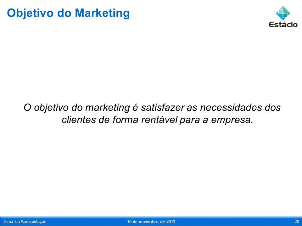 O objetivo do marketing é satisfazer as necessidades dos clientes de forma rentável para a empresa. Objetivo do Marketing 10 de novembro de 2013 Tema