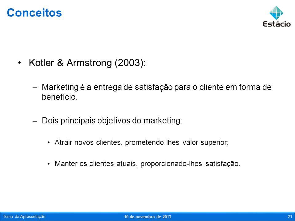 Kotler & Armstrong (2003): –Marketing é a entrega de satisfação para o cliente em forma de benefício. –Dois principais objetivos do marketing: Atrair