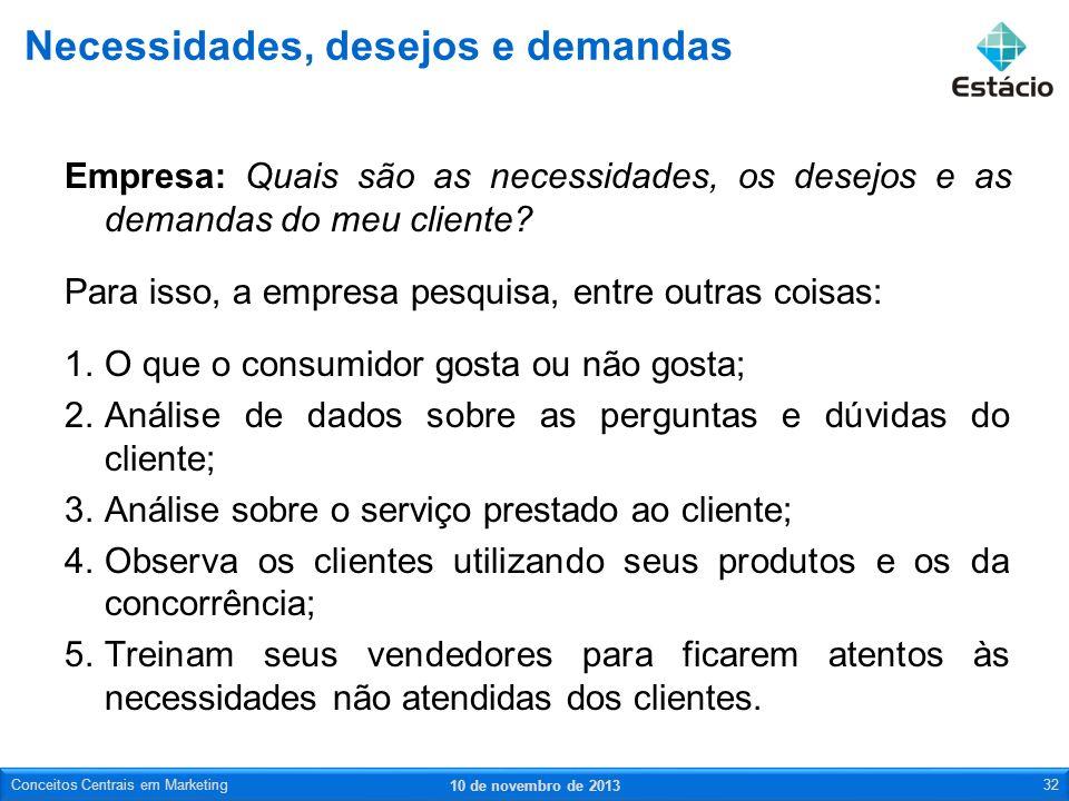 Empresa: Quais são as necessidades, os desejos e as demandas do meu cliente? Para isso, a empresa pesquisa, entre outras coisas: 1.O que o consumidor