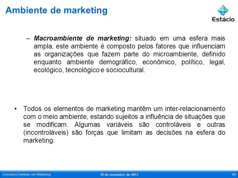 –Macroambiente de marketing: situado em uma esfera mais ampla, este ambiente é composto pelos fatores que influenciam as organizações que fazem parte