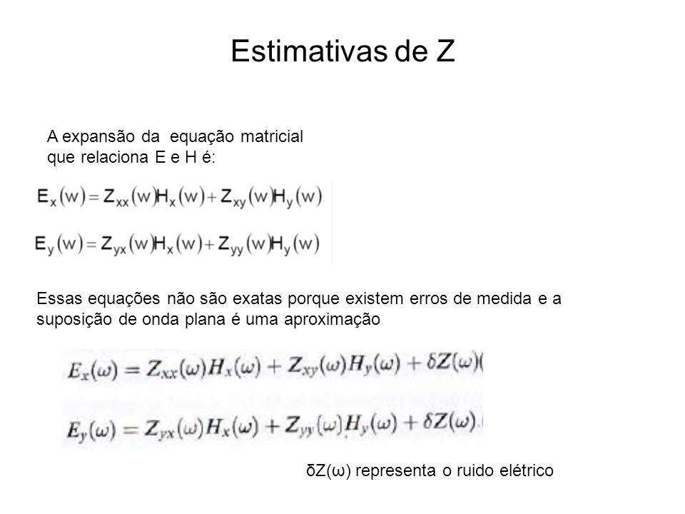 Estimativas de Z A expansão da equação matricial que relaciona E e H é: Essas equações não são exatas porque existem erros de medida e a suposição de