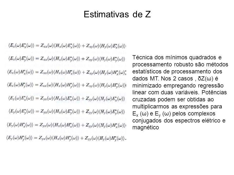 Estimativas de Z Técnica dos mínimos quadrados e processamento robusto são métodos estatísticos de processamento dos dados MT. Nos 2 casos, δZ(ω) é mi