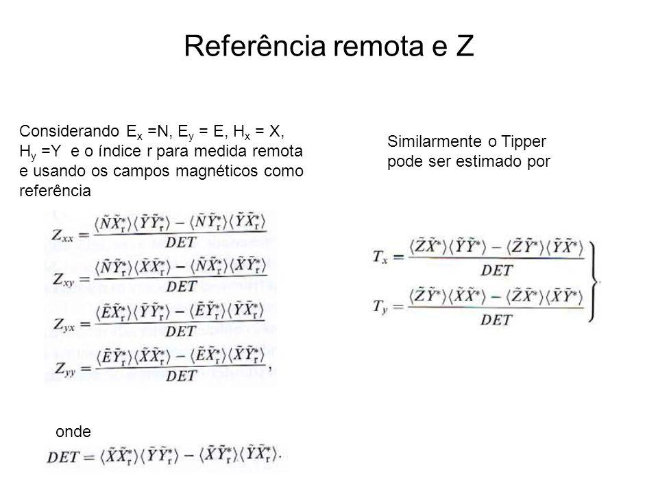 Referência remota e Z Considerando E x =N, E y = E, H x = X, H y =Y e o índice r para medida remota e usando os campos magnéticos como referência Simi