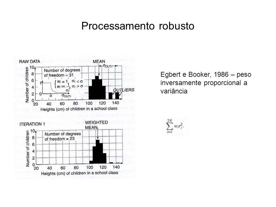 Processamento robusto Egbert e Booker, 1986 – peso inversamente proporcional a variância