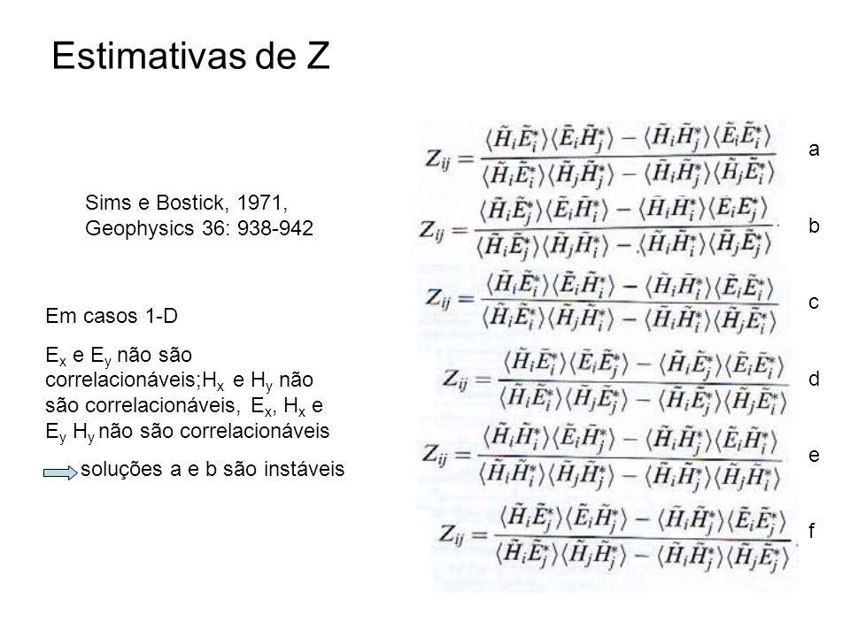 Estimativas de Z Sims e Bostick, 1971, Geophysics 36: 938-942 abcdefabcdef Em casos 1-D E x e E y não são correlacionáveis;H x e H y não são correlaci