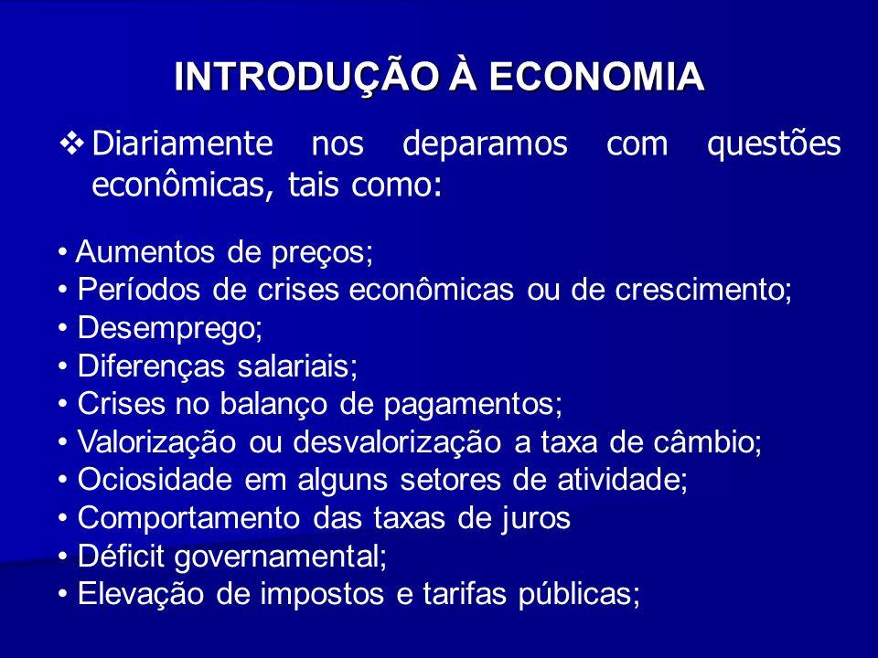 INTRODUÇÃO À ECONOMIA Diariamente nos deparamos com questões econômicas, tais como: Aumentos de preços; Períodos de crises econômicas ou de cresciment