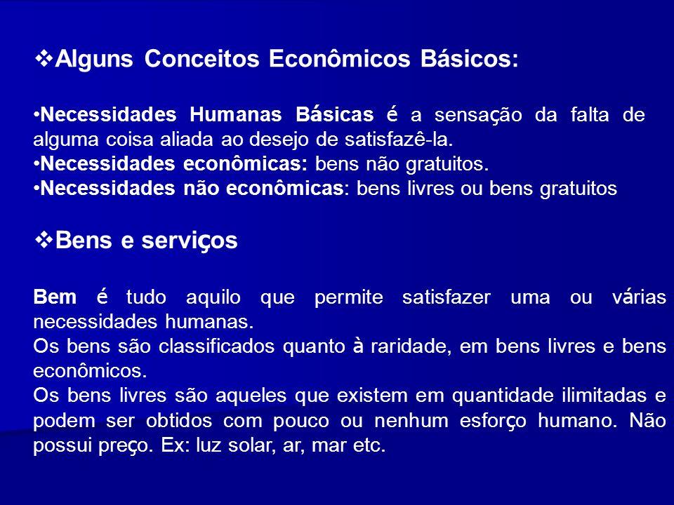 Alguns Conceitos Econômicos Básicos: Necessidades Humanas B á sicas é a sensa ç ão da falta de alguma coisa aliada ao desejo de satisfazê-la. Necessid