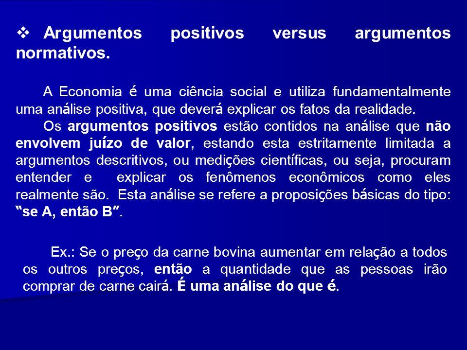 Argumentos positivos versus argumentos normativos. A Economia é uma ciência social e utiliza fundamentalmente uma an á lise positiva, que dever á expl