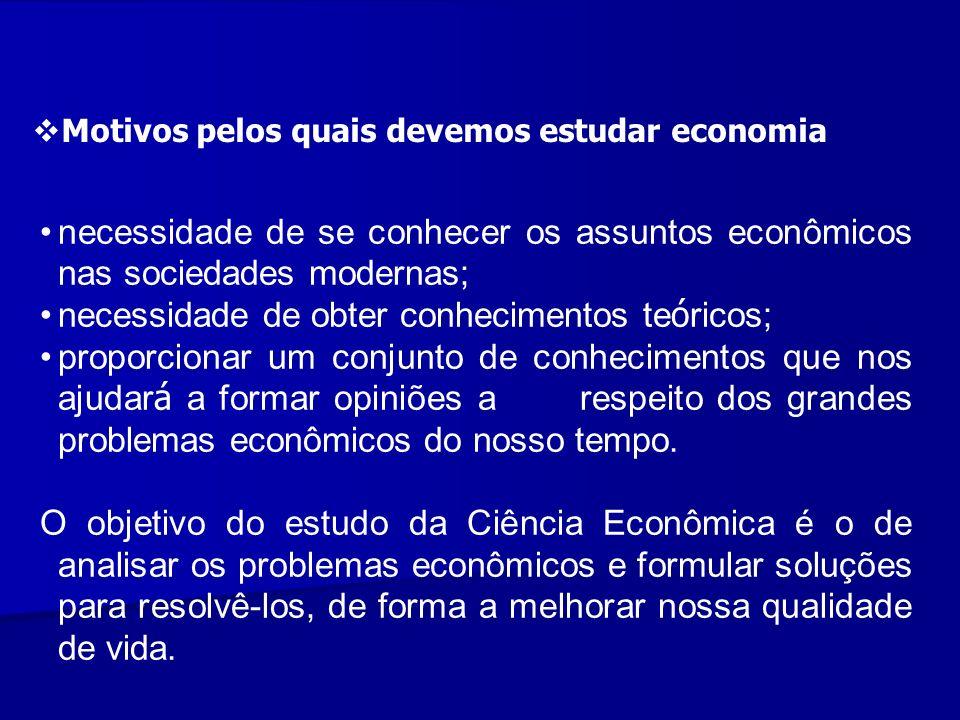Motivos pelos quais devemos estudar economia necessidade de se conhecer os assuntos econômicos nas sociedades modernas; necessidade de obter conhecime