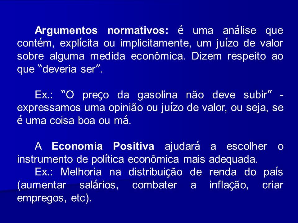Argumentos normativos: é uma an á lise que cont é m, expl í cita ou implicitamente, um ju í zo de valor sobre alguma medida econômica. Dizem respeito