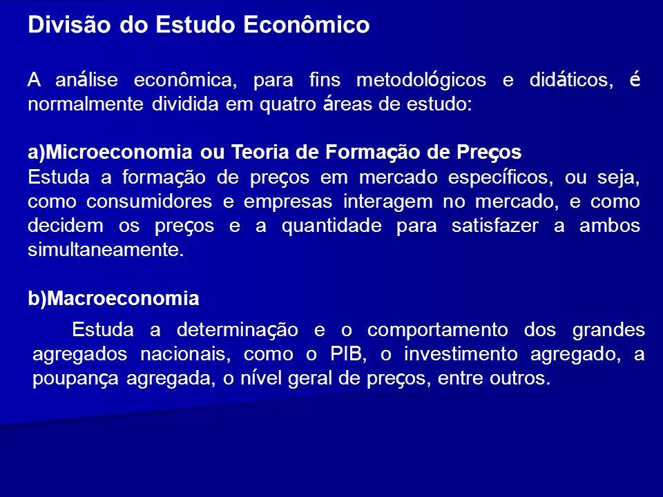 Divisão do Estudo Econômico A an á lise econômica, para fins metodol ó gicos e did á ticos, é normalmente dividida em quatro á reas de estudo: a)Micro
