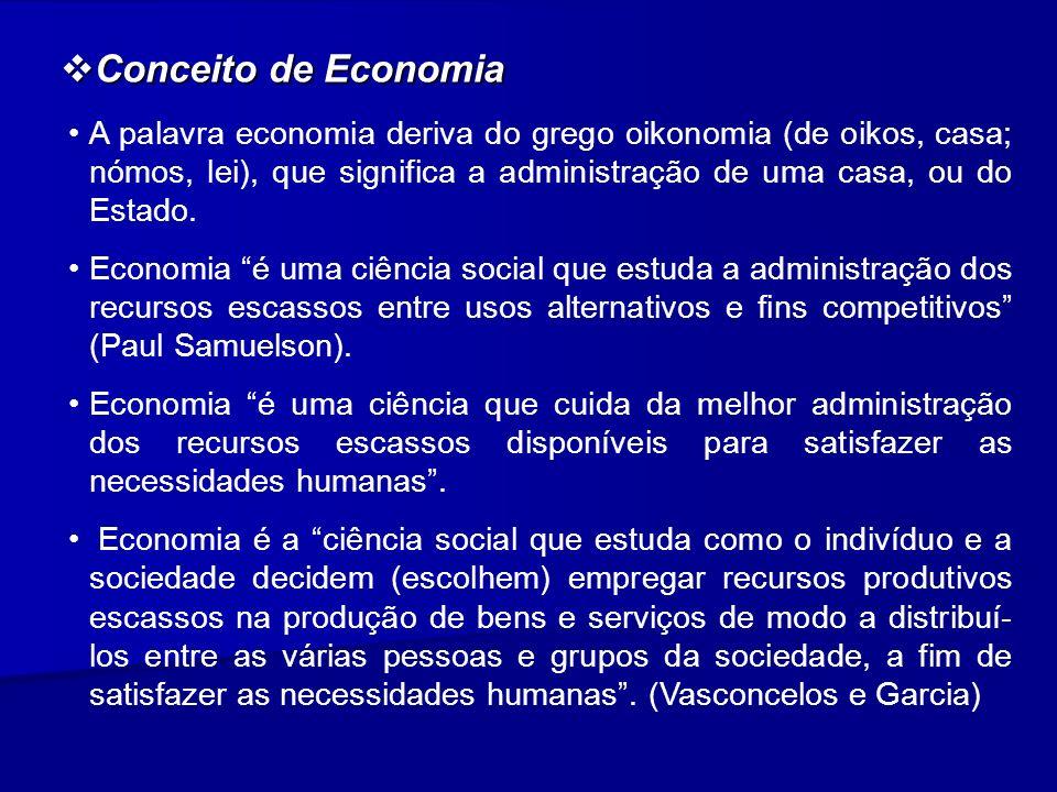 Conceito de Economia Conceito de Economia A palavra economia deriva do grego oikonomia (de oikos, casa; nómos, lei), que significa a administração de