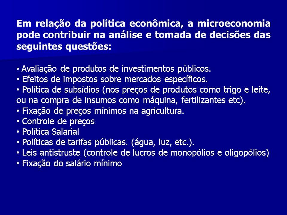 Em relação da política econômica, a microeconomia pode contribuir na análise e tomada de decisões das seguintes questões: Avaliação de produtos de inv
